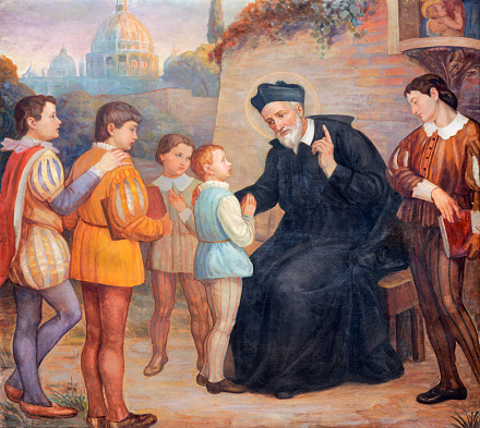 CATANIA, ITALY - APRIL 8, 2018: The painting of St. Filip Neri in the church Chiesa di San Filipo Neri by unknown artist.