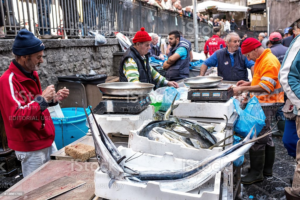 Catania, typical of the Sicilian fish market, Italy stock photo