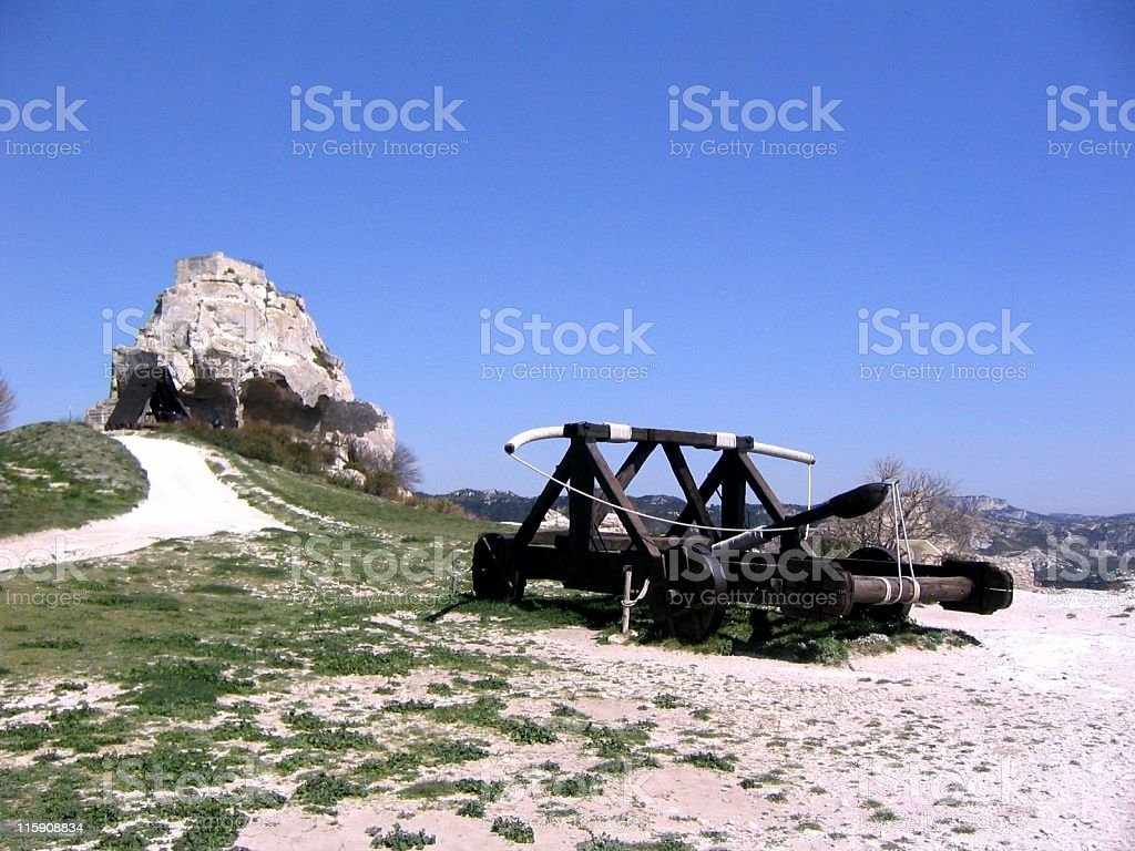 Catapult in Provence stock photo
