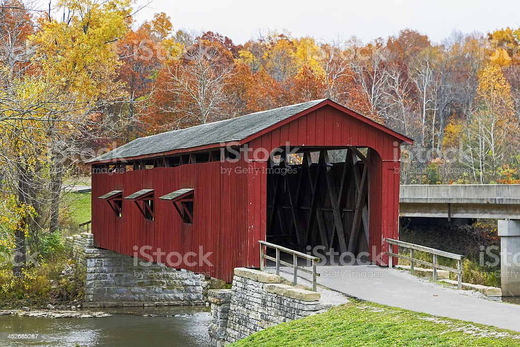 Cataract Covered Bridge and Fall Foliage stock photo