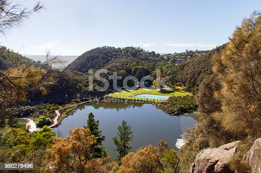 View of the public swimming pool and family area at Cataract Gorge in Launceston, Tasmania.