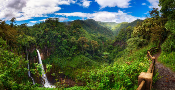 Catarata del Toro waterfall with surrounding mountains in Costa Rica stock photo
