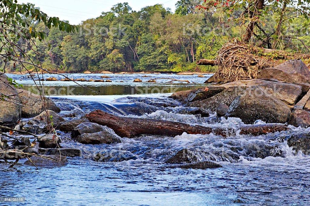 Catawba River on the Riverwalk Trail, Rock Hill, SC stock photo
