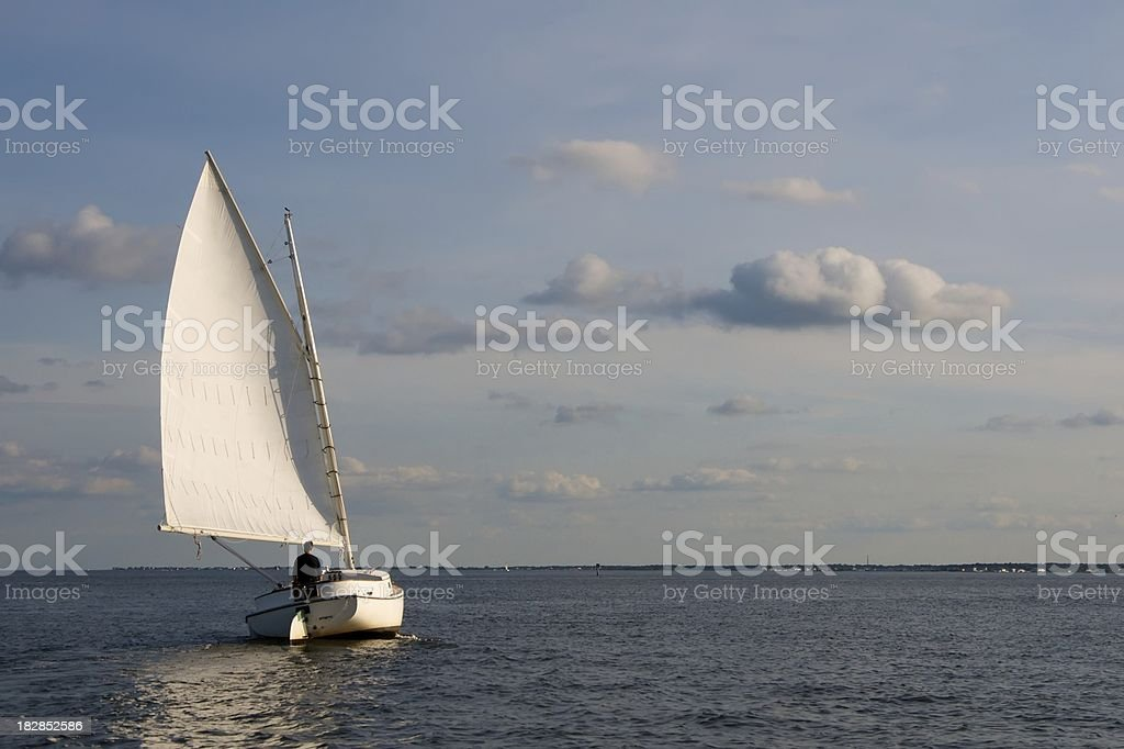 Catboat on a Reach royalty-free stock photo