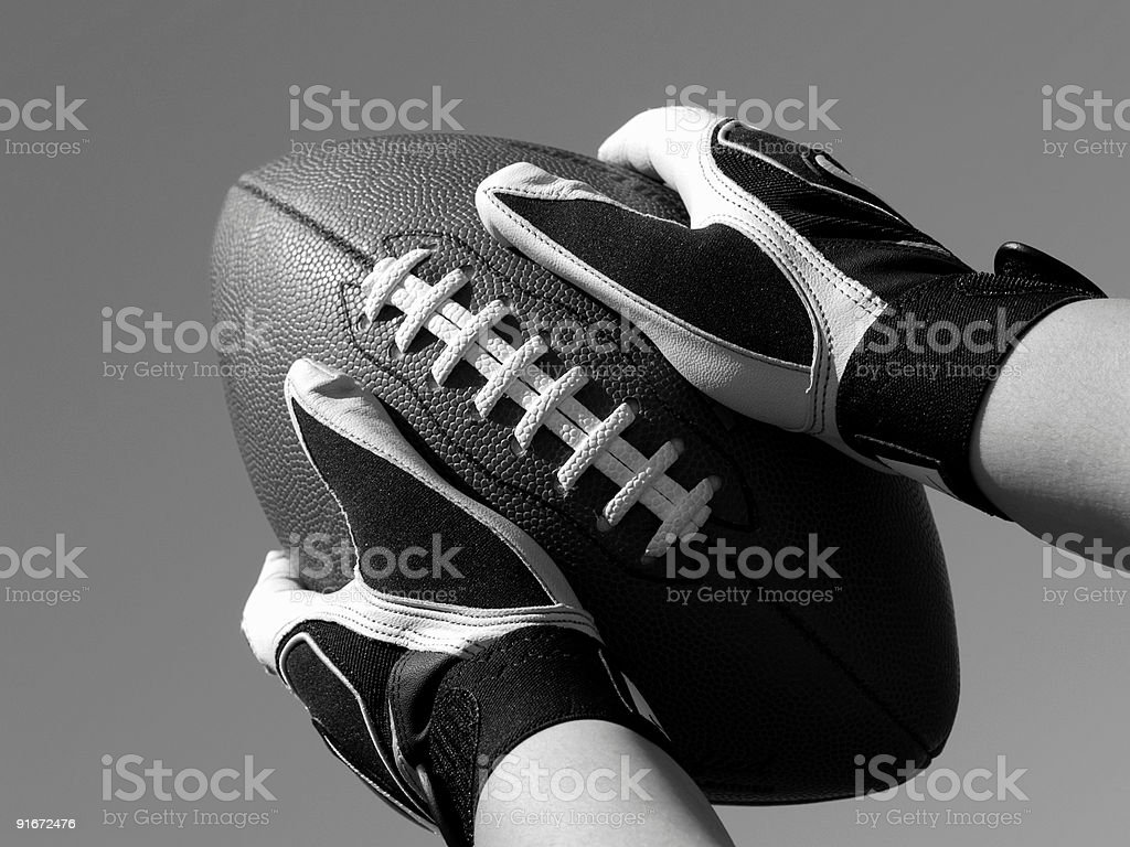 Catch a Football - B&W stock photo