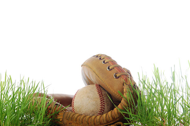 catchers mitt and ball for baseball - spring training stock photos and pictures