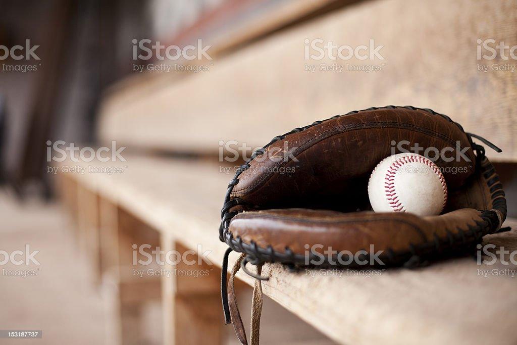Catcher's Mitt in Dugout stock photo