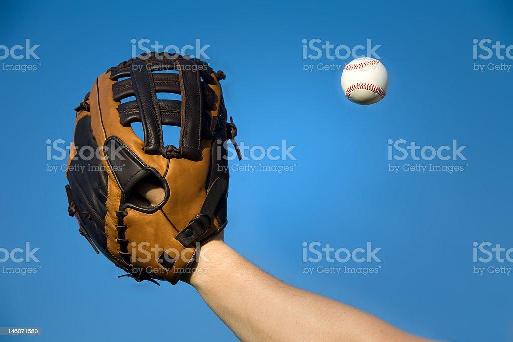Catching a baseball royalty-free stock photo