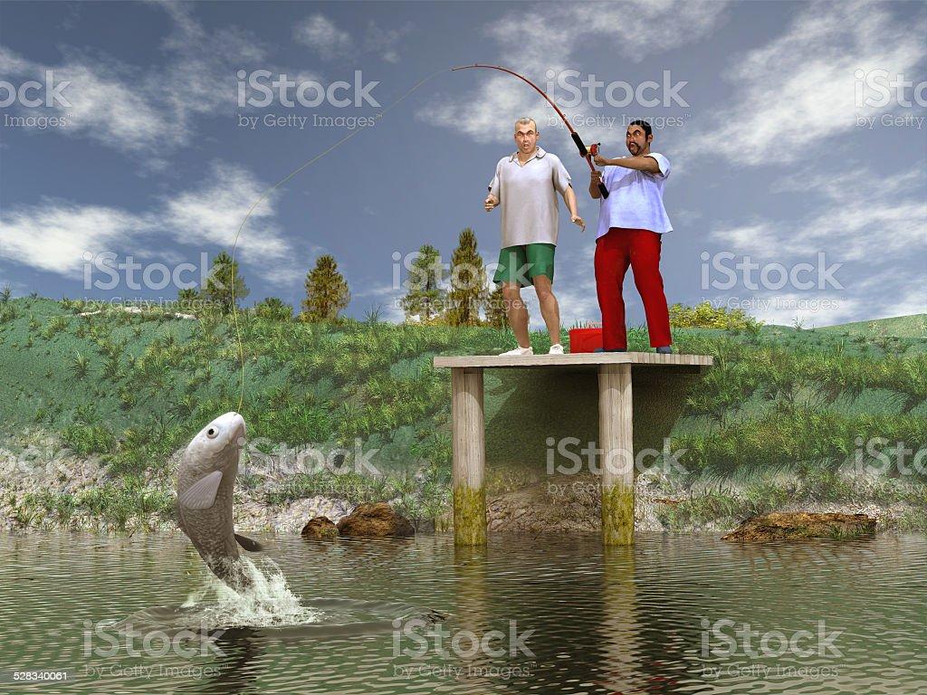 Catching a big fish stock photo
