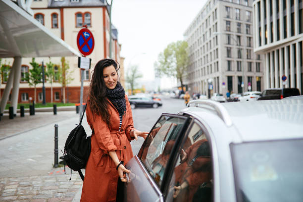 catching a ride share in Berlin stock photo