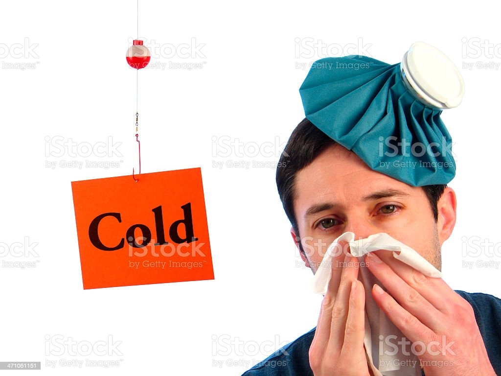 Catching Cold: Fishing Line with Cold Sign and Sick Man royalty-free stock photo