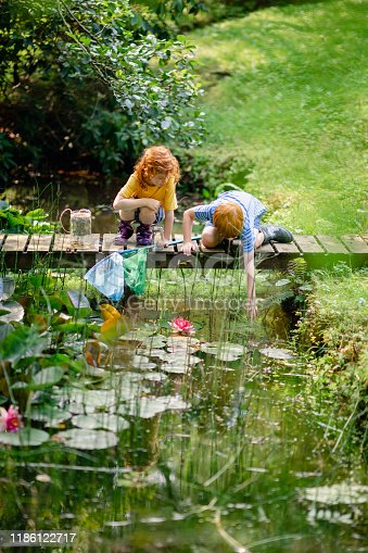 Young redhead brother and sister crouching on a wooden platform over a pond. The boy is reaching for something in the pond.