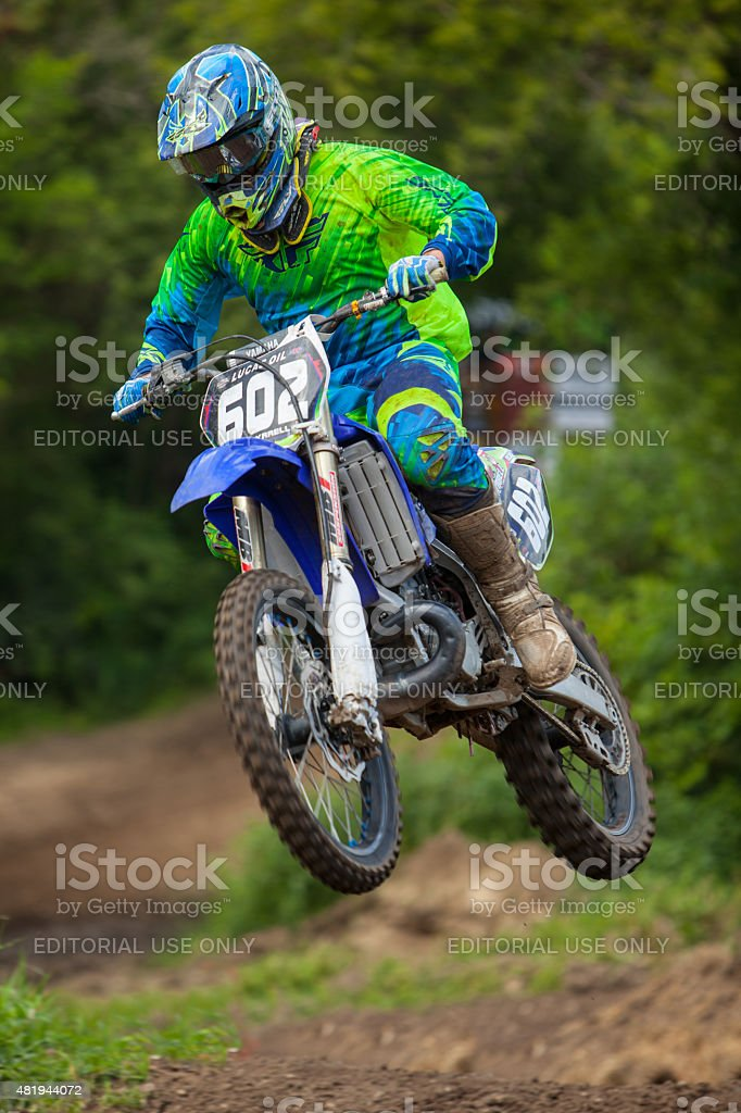 Catching some air during a motocross race in Wisonsin. stock photo