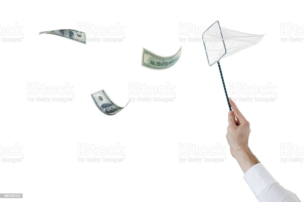 catching the flying dollars with a net royalty-free stock photo