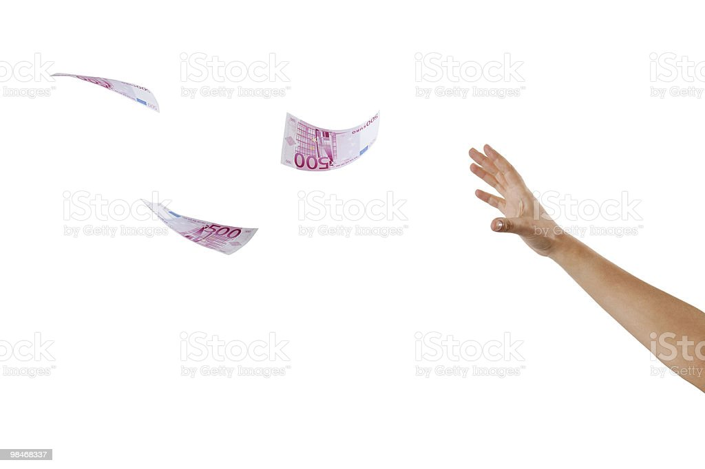 catching the flying euro royalty-free stock photo