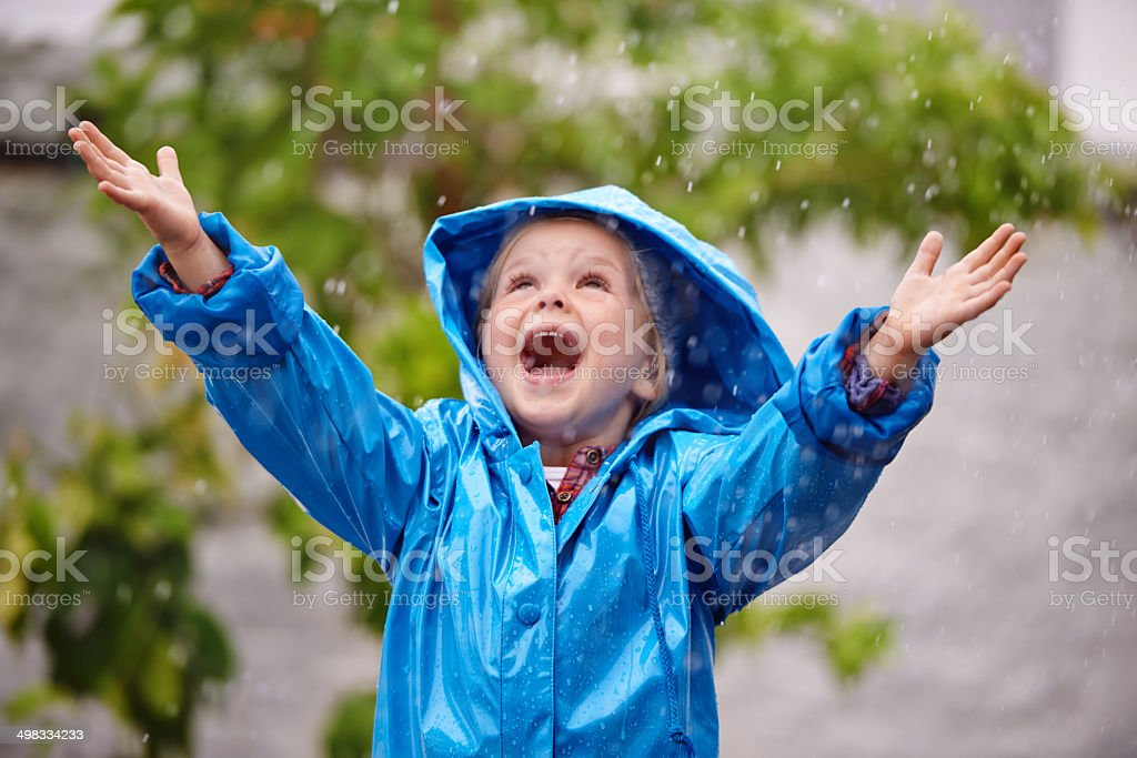 Catching the rain stock photo