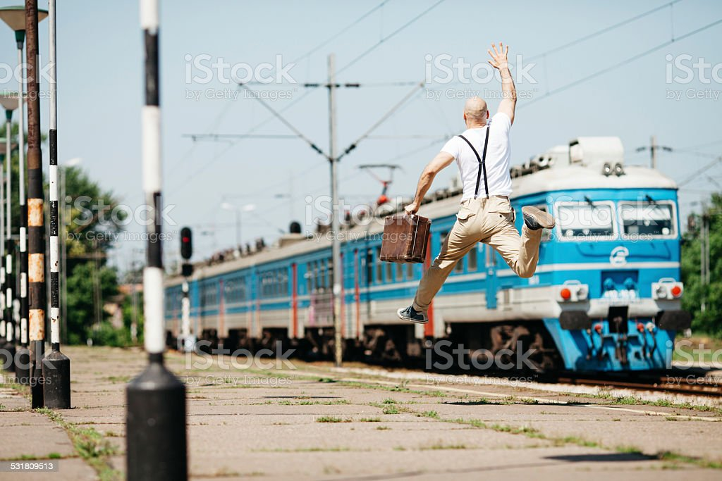 Catching the train stock photo