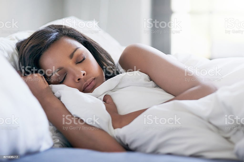 Catching up on her beauty sleep stock photo