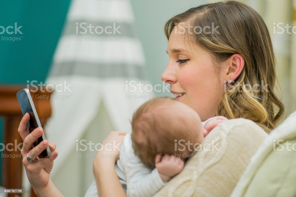 Catching up on Social Media stock photo