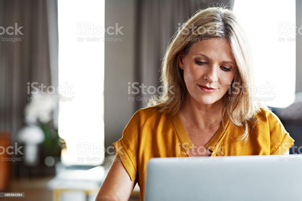 Catching up on some correspondence stock photo
