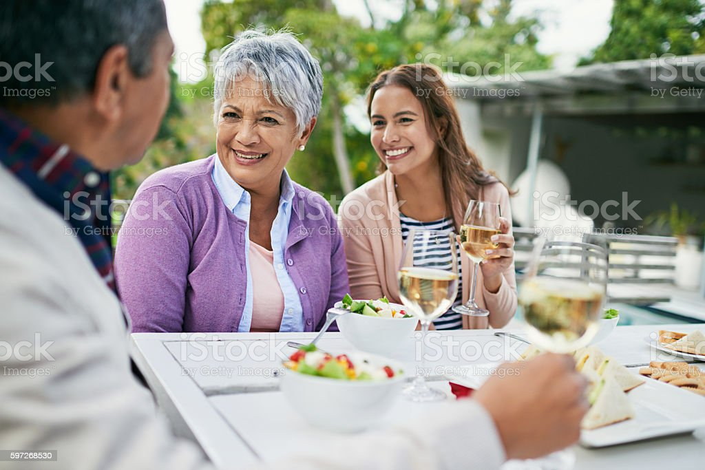 Catching up over a light lunch royalty-free stock photo