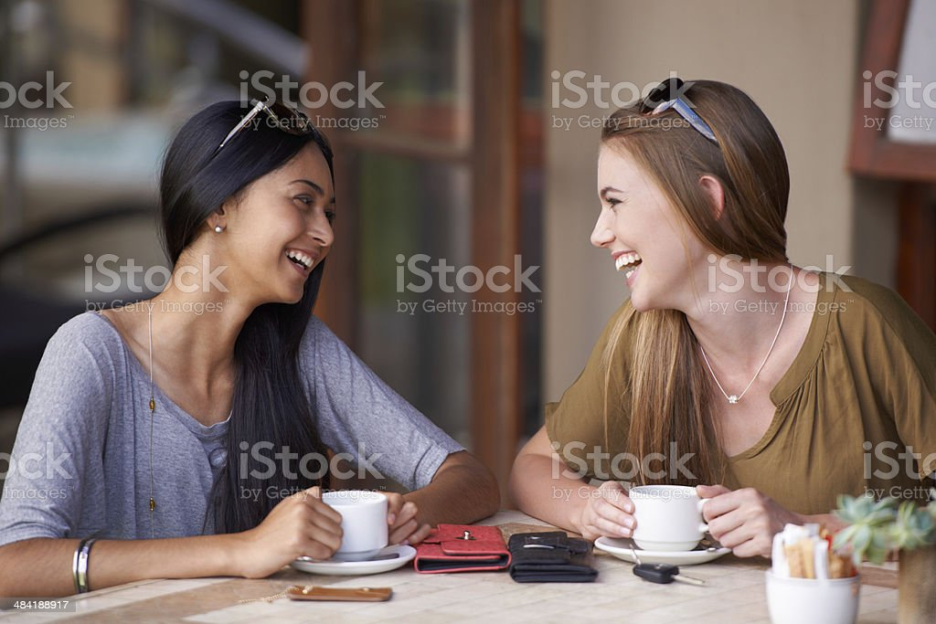 Catching up over coffees stock photo