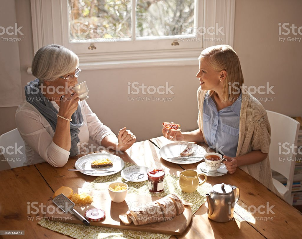 Catching up over tea stock photo