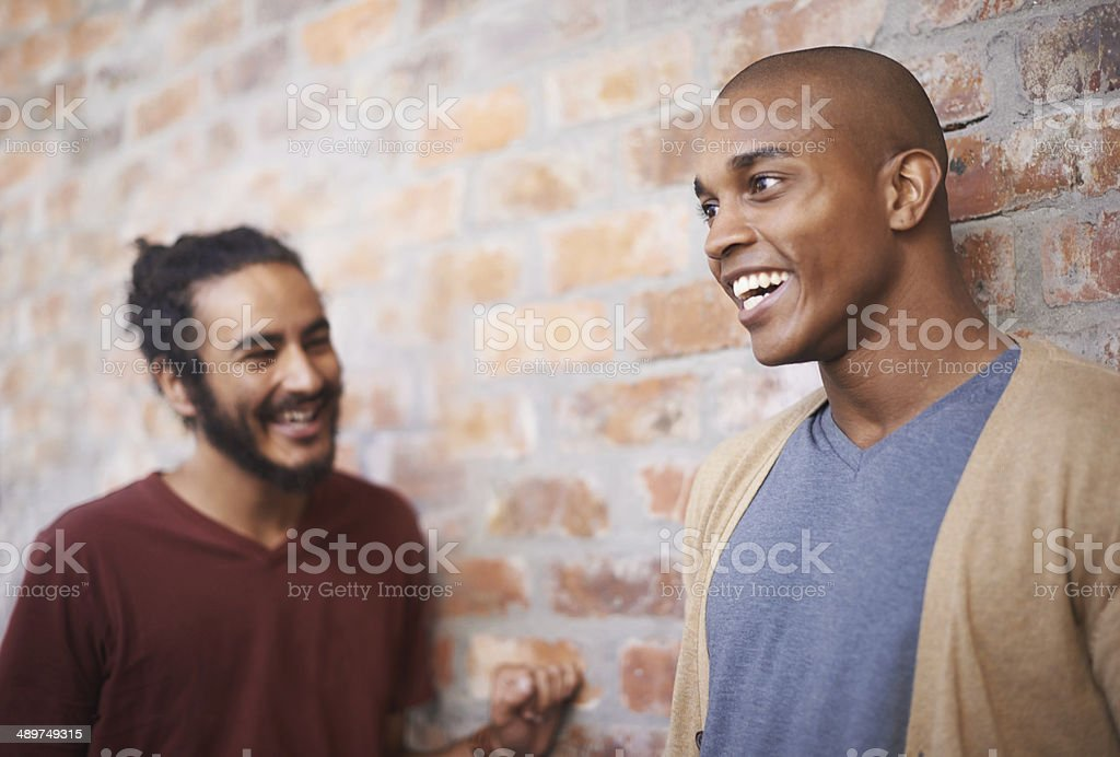 Catching up with a good friend stock photo