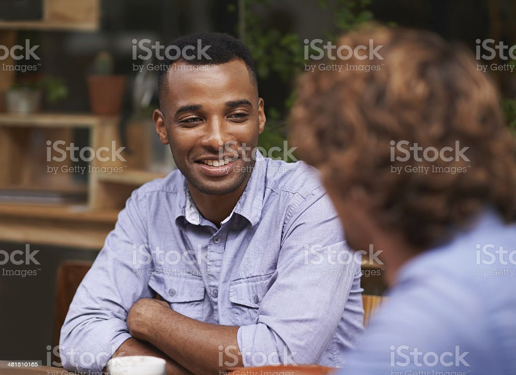 Catching up with an old friend stock photo