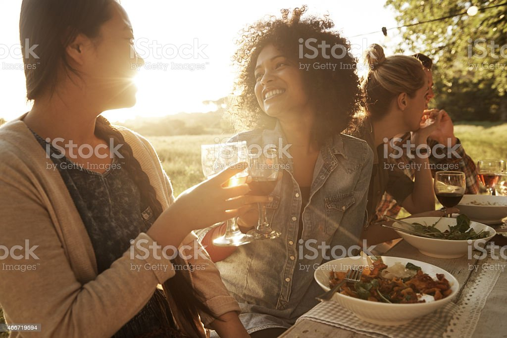Catching up with good friends stock photo