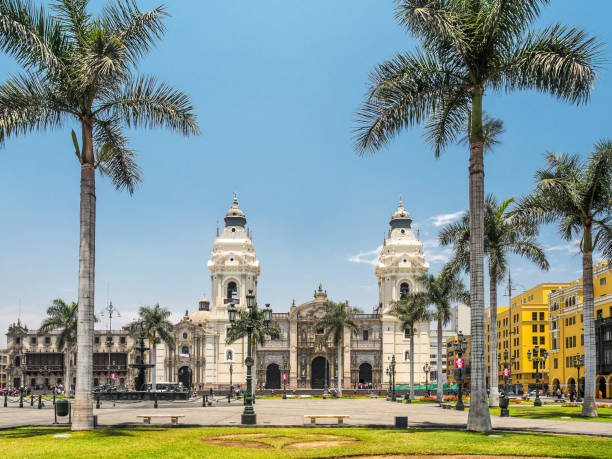 Catedral de Lima and Plaza de Armas, the landmark of  Peru. It's a historic building in a public area. No intellectual property issue. basilica stock pictures, royalty-free photos & images