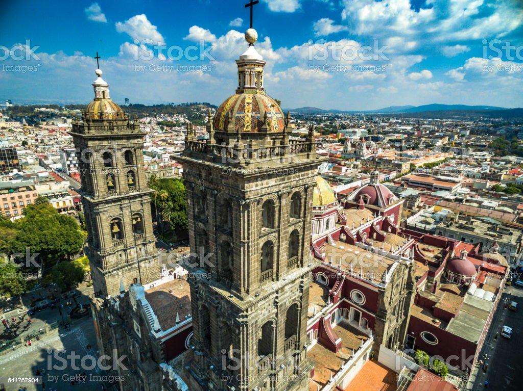 Catedral de Puebla stock photo
