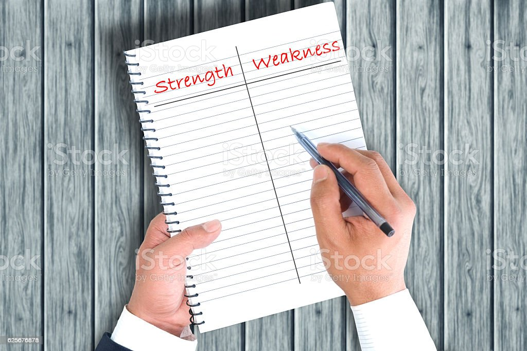 Categorizing strength and weakness stock photo