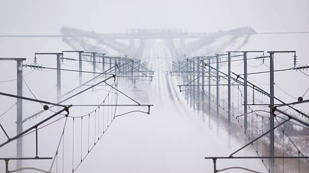 Catenary in snow stock photo