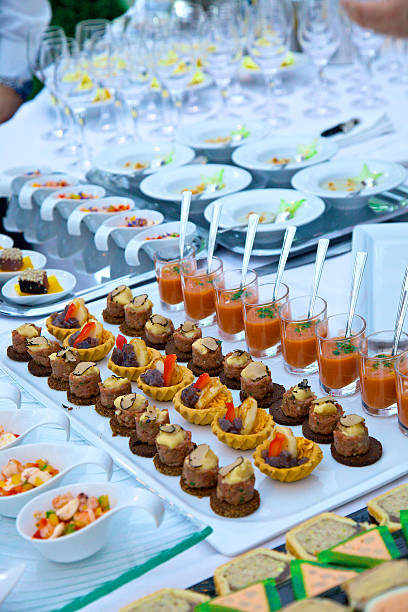 catering - amuse buche catering - finger food - amuse buche amuse stock pictures, royalty-free photos & images