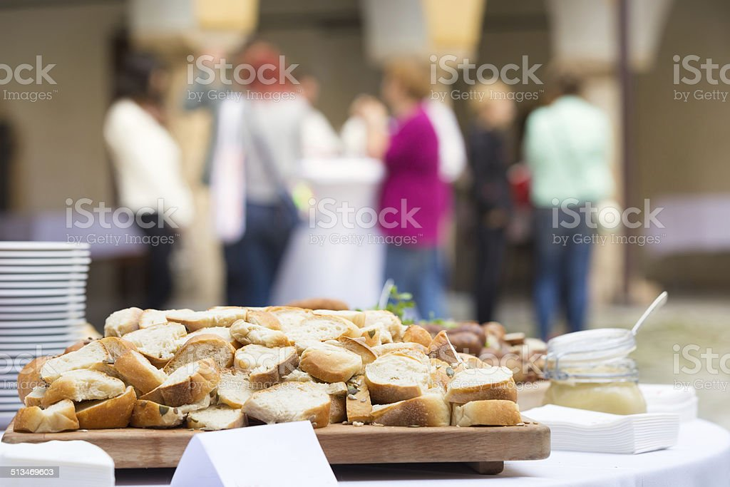 Catering at the business event. stock photo