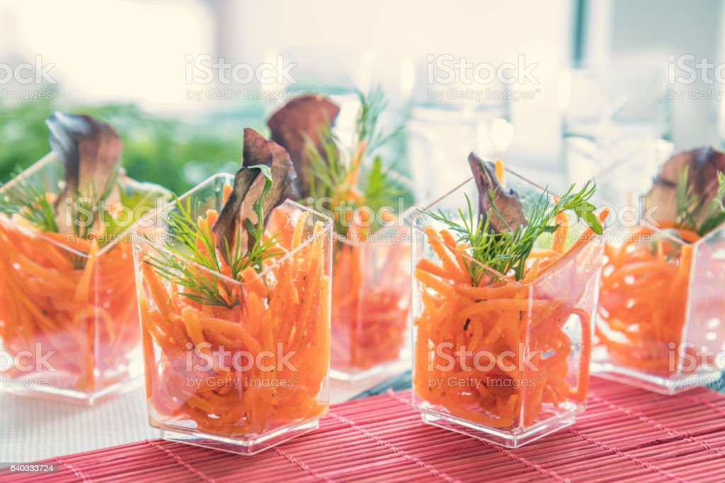Catering banquet table with salad stock photo