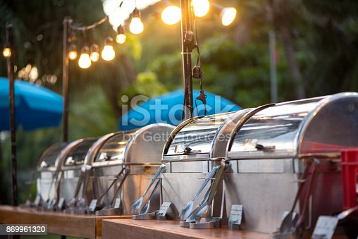 istock catering buffet food party outdoors in garden. 869961320