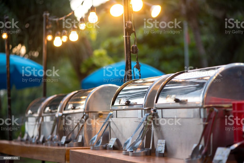 catering buffet food party outdoors in garden. stock photo