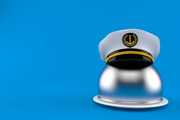 Catering dome with captain's hat Catering dome with captain's hat isolated on blue background. 3d illustration sailor hat stock pictures, royalty-free photos & images