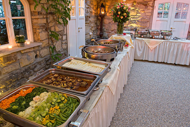 Catering food at a wedding party stock photo