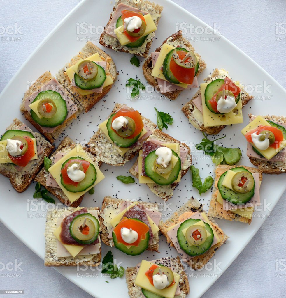 Catering food, canapes stock photo
