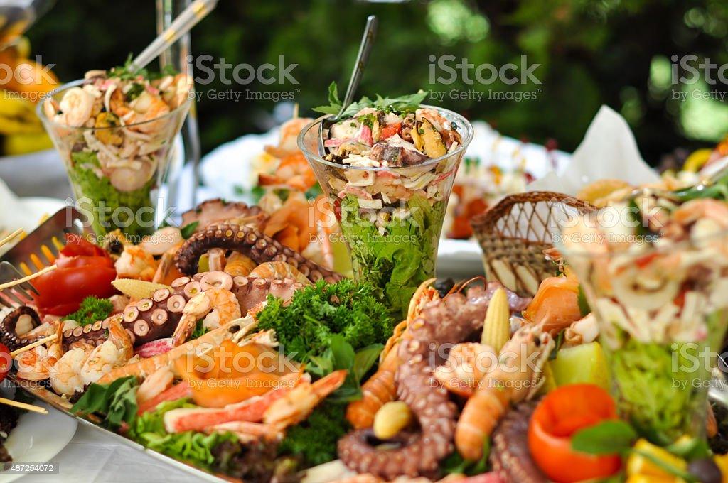 Servicio de Catering comida, alimentos al mar - foto de stock