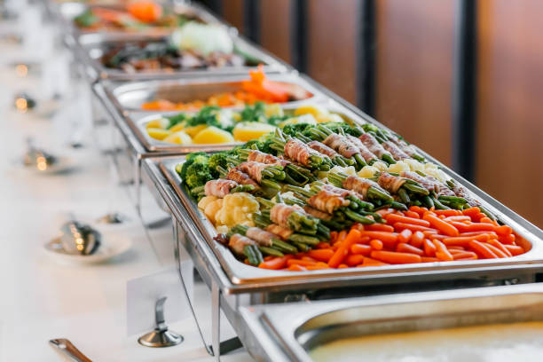 Catering Food Wedding Event Table Catering Food Wedding Event Table buffet stock pictures, royalty-free photos & images