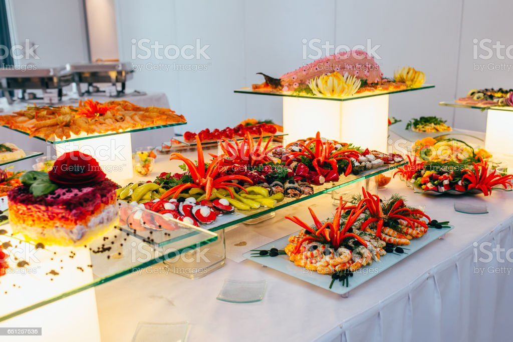 Catering Food Wedding Event Table Stock Photo - Download Image Now