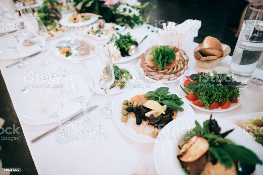 Catering Service Restaurant Table With Food And Flower Decoration Stock Photo Download Image Now Istock