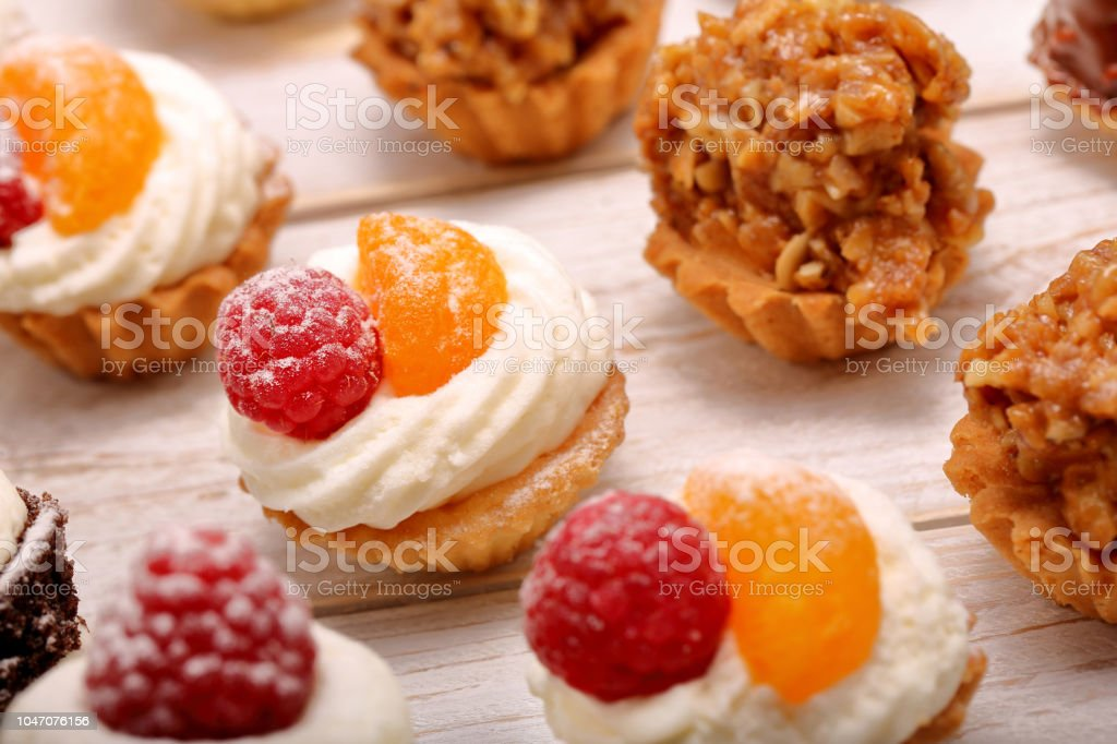 Catering Sweets Closeup Cakes On Event Or Wedding Reception Stock
