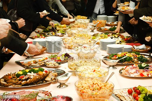 istock Catering table full of tasty food 154955163