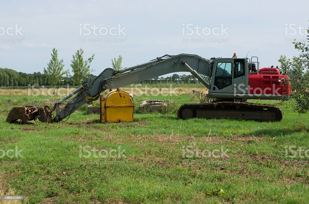 Caterpillar excavator stock photo