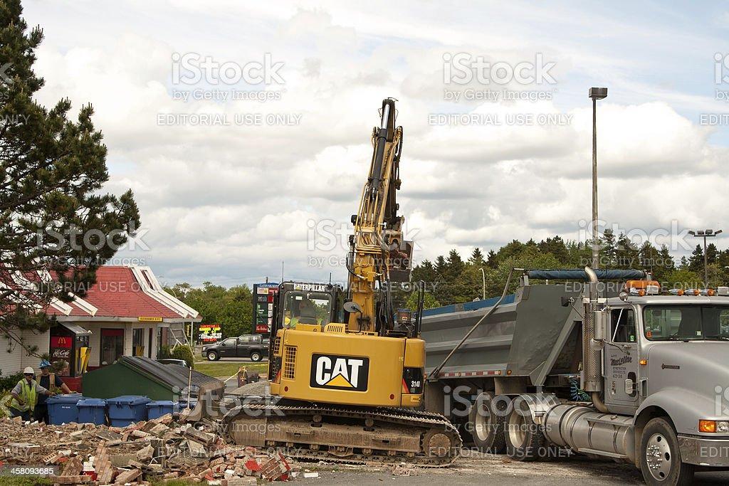 Caterpillar Excavator Removing Rubble royalty-free stock photo